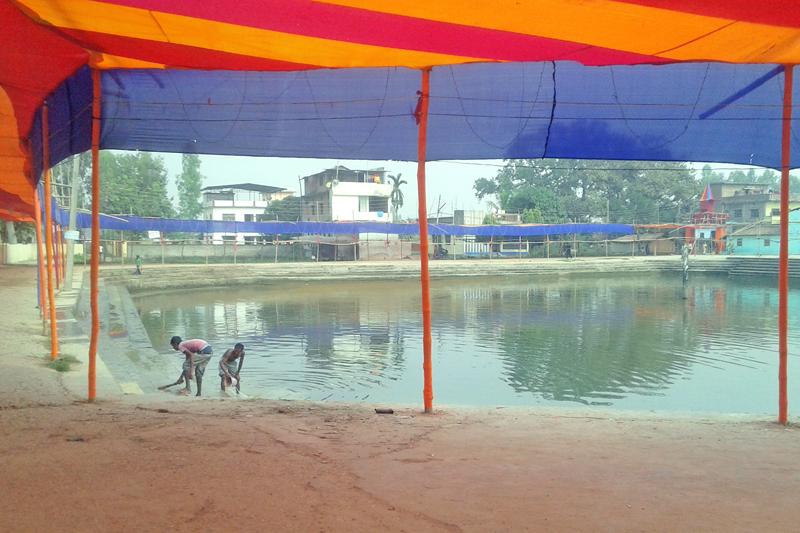 Devotees celebrating Chhath in Mithila