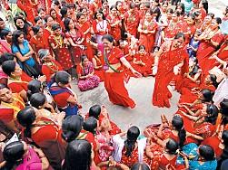 Women celebrating Haritalika Teej today